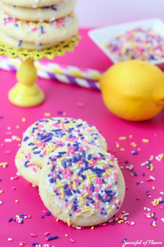 Sprinkle Cookies - chewy sugar cookies with a hint of lemon flavor and topped with fun sprinkles!