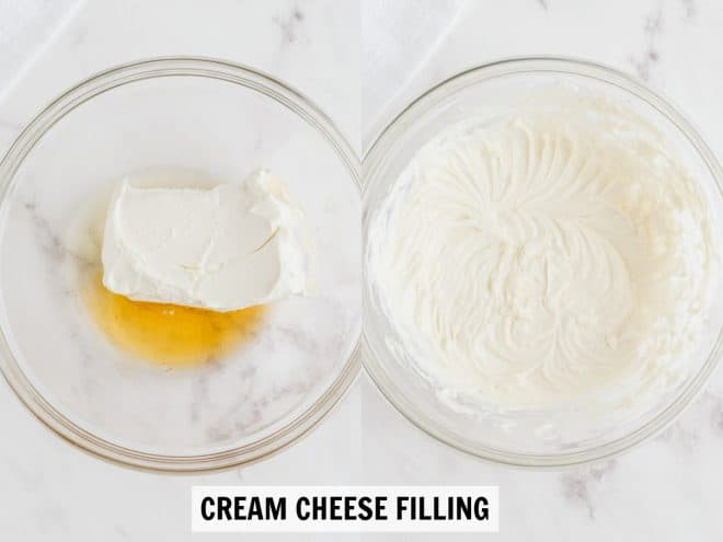 mixing together ingredients for cream cheese filling in bowl