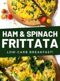 a slice of ham and spinach frittata on a cutting board