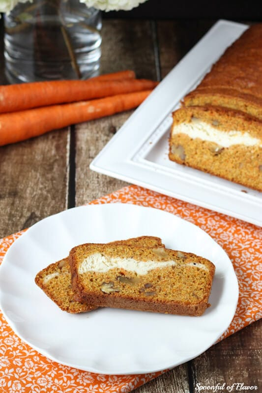 Carrot-Nut Cream Cheese Swirl Loaf - the perfect quick bread recipe!