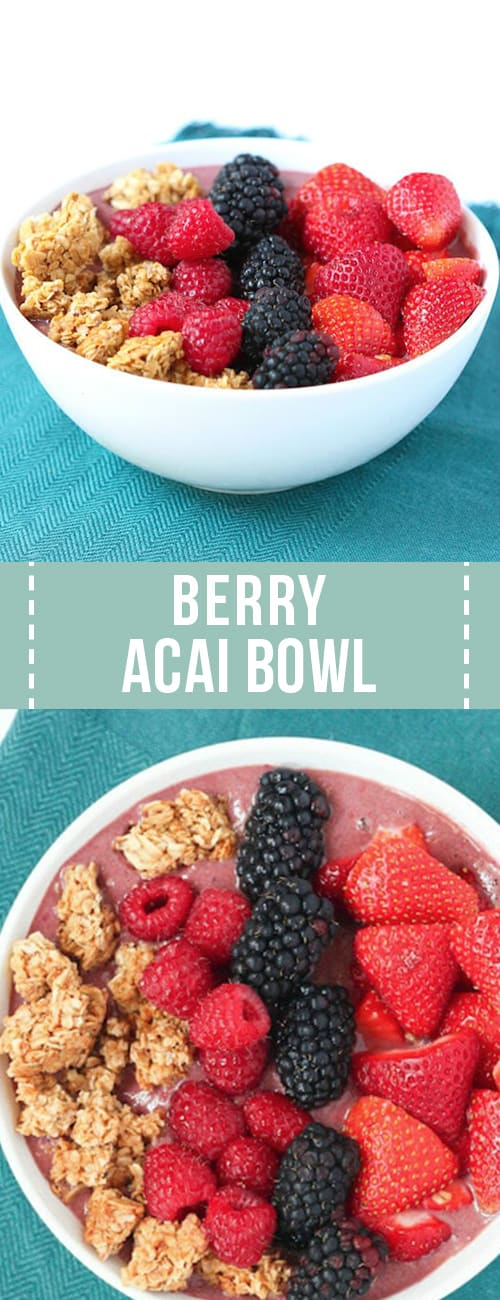 Berry acai bowl with berry and granola topping.