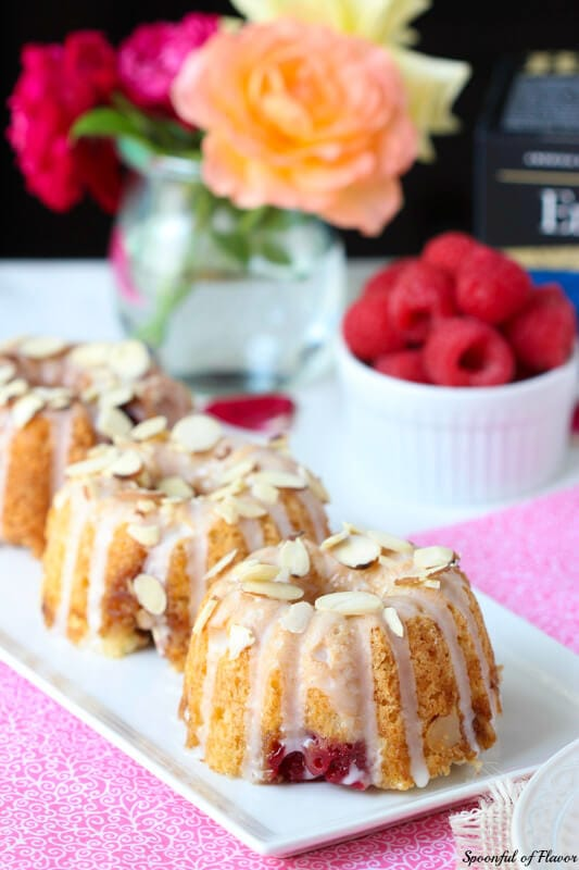 Raspberry Almond Coffee Cakes - perfect for serving with your afternoon tea!