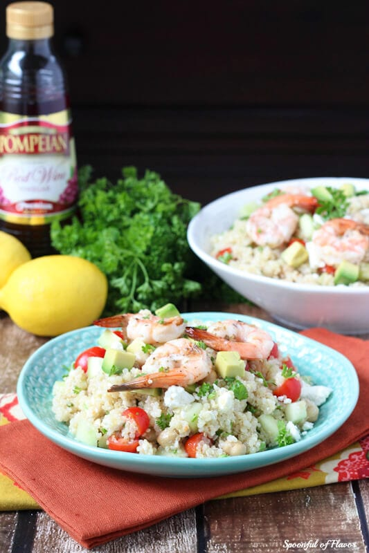 Mediterranean Grilled Shrimp Quinoa Salad - made with fresh olive oil red wine vinaigrette! #pompeian