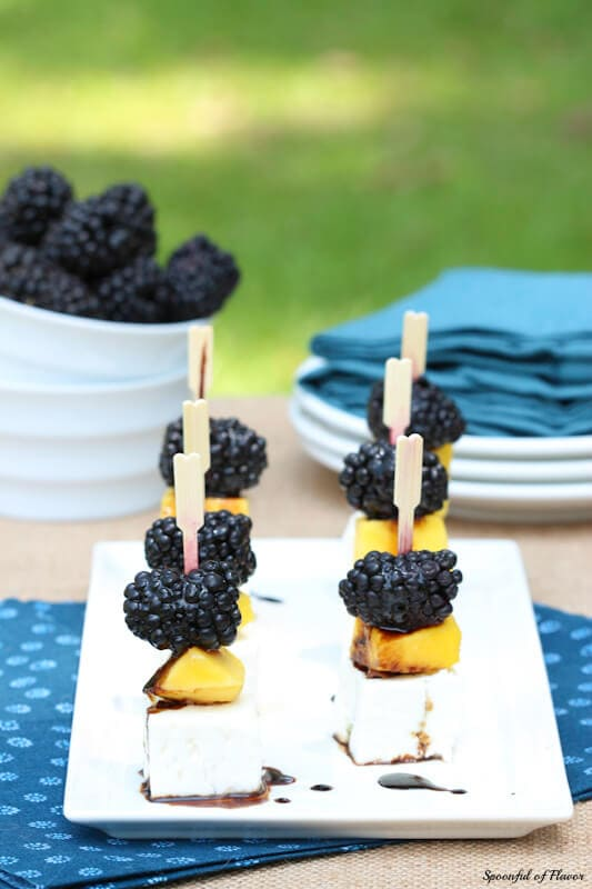 Mango, Blackberry and Feta Bites - an easy summer appetizer to serve at your next summer dinner!
