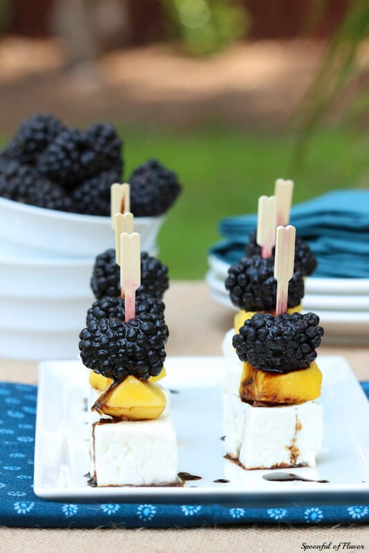 Mango, Blackberry and Feta Bites - simple flavors combine to create an easy summer appetizer!