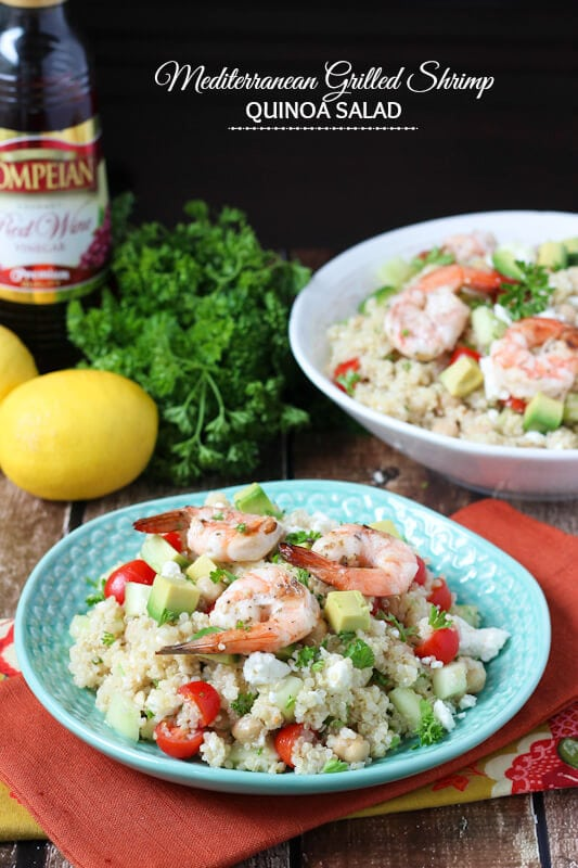 Mediterranean Grilled Shrimp Quinoa Salad - made with fresh olive oil red wine vinaigrette!