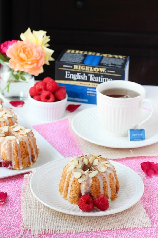 Raspberry Almond Coffee Cakes - perfect for serving with tea!