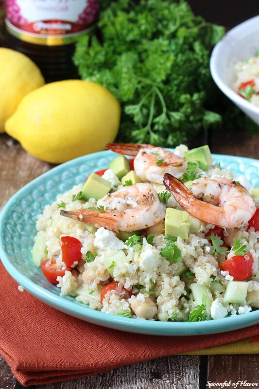 Mediterranean Grilled Shrimp Quinoa Salad - made with fresh olive oil red wine vinaigrette! So fresh!