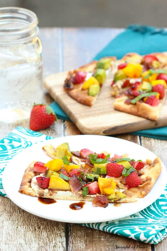 Summer Flatbread - with strawberries, mango, avocado, goat cheese and bacon!