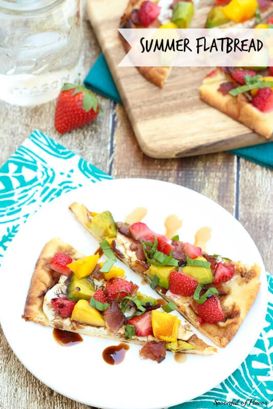 Summer Flatbread - with strawberries, mango, avocado, goat cheese and bacon! Fresh and flavorful!