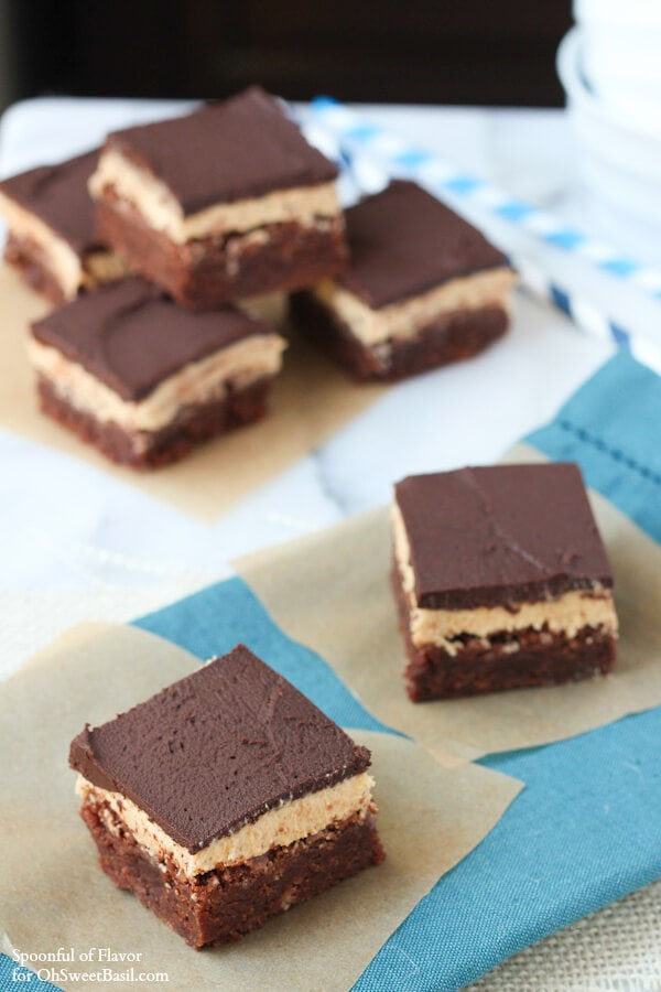 Chocolate Peanut Butter Triple Layer Brownies for OhSweetBasil - you won't be able to eat just one!