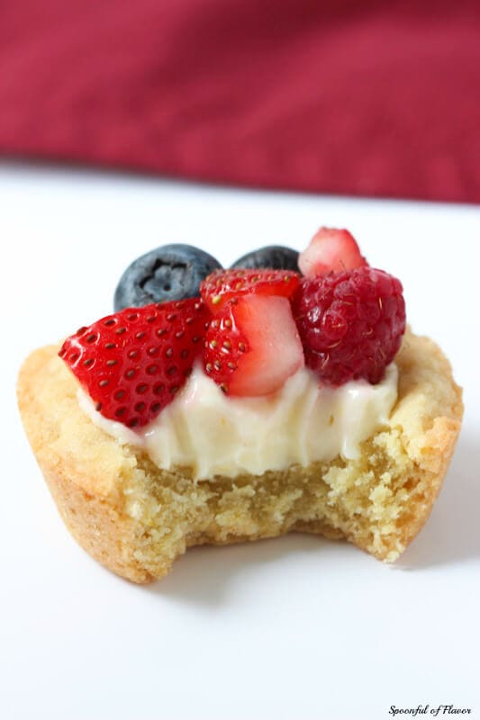 Triple Berry Lemon Cookie Cups - fresh lemon cream and berries sits on top of a delectable lemon sugar cookie crust!
