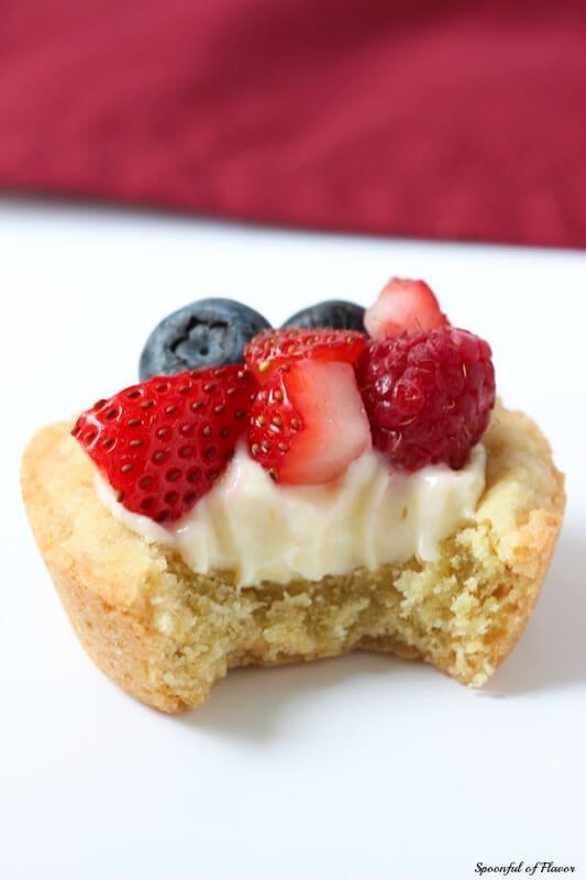 Triple Berry Lemon Cookie Cups - fresh lemon cream and berries sits on top of a delectable lemon sugar cookie crust!