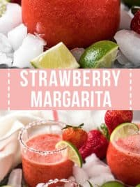 clear glass with strawberry margarita in it garnished with lime slices and strawberries