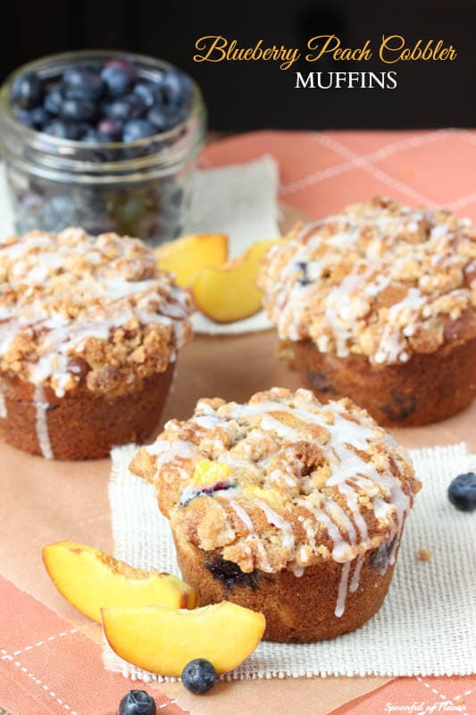 Blueberry Peach Cobbler Muffins - with the best crumble topping!