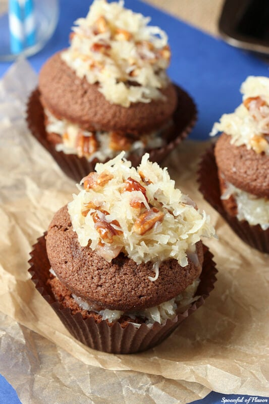 German Chocolate Cupcakes - rich chocolate cake topped with coconut pecan frosting! A classic favorite!