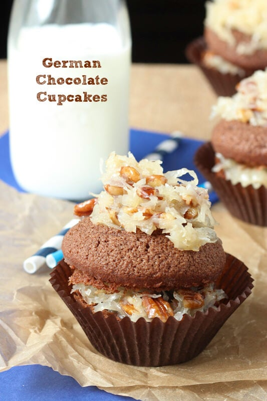 German Chocolate Cupcakes - chocolate cake topped with coconut pecan frosting!