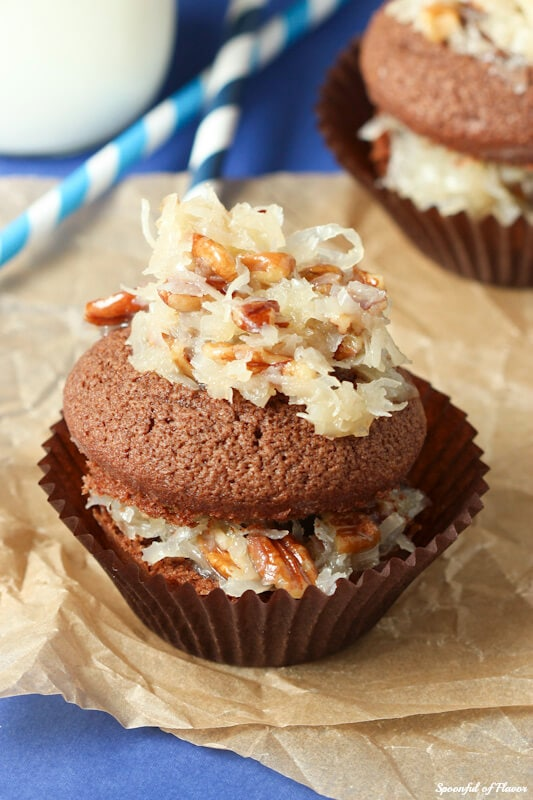 The best German Chocolate Cupcakes - rich chocolate cake topped with coconut pecan frosting! You won't be able to eat just one!