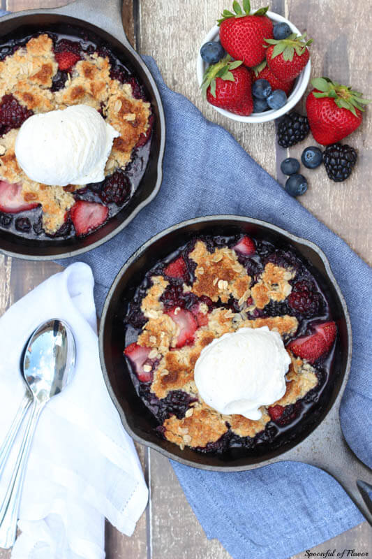 Triple Berry Almond Crisp - loaded with fresh berries and almond topping!