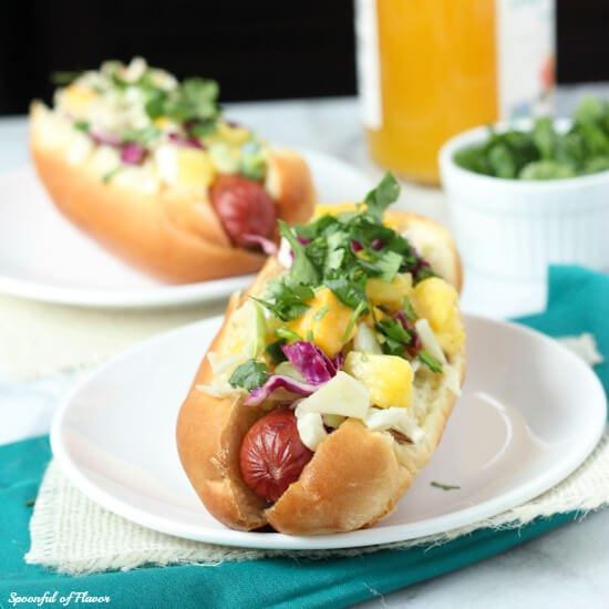 Tropical Hot Dogs with Pineapple Mango Slaw - perfect for summertime grilling!