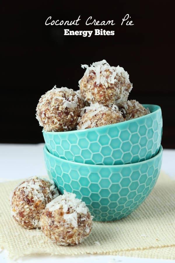 Coconut Cream Pie Bites - paleo and vegan friendly! The perfect quick and healthy snack! #paleo