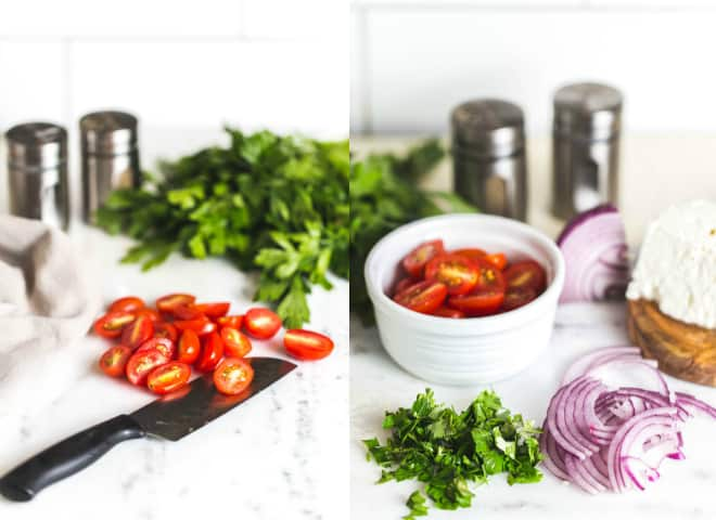 Tomatoes, sliced red onions, parsley and