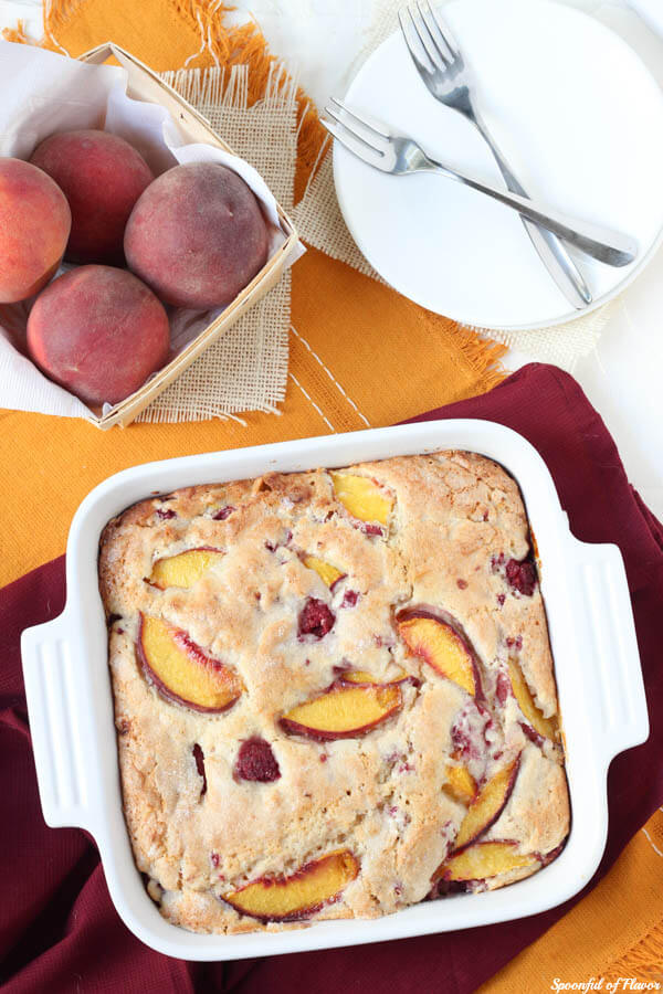 Peach Raspberry Breakfast Cake - fresh peaches and raspberries combine to create the perfect breakfast cake!