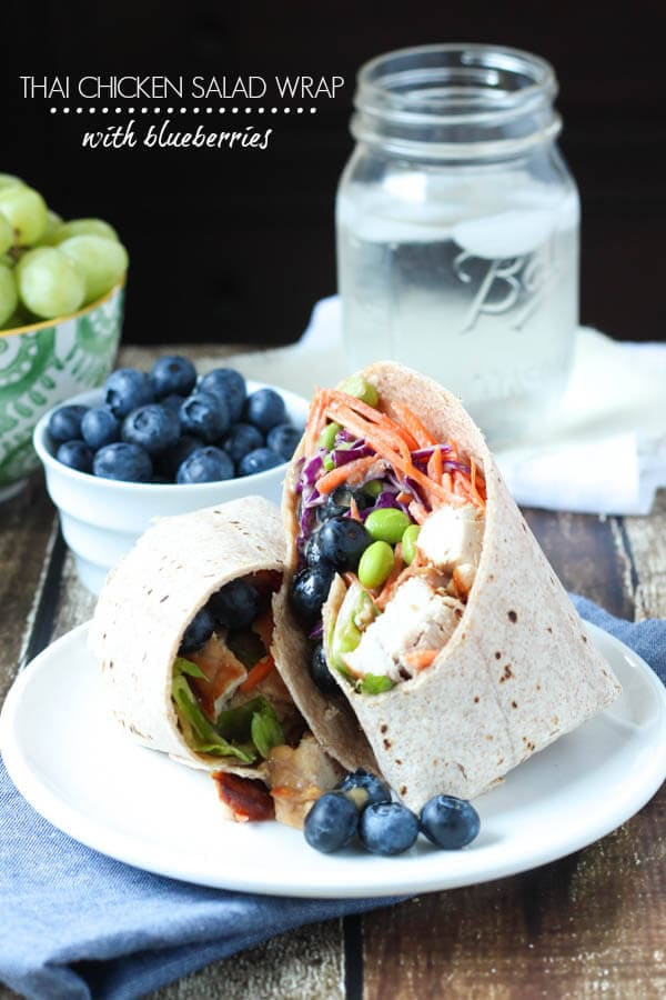 Thai Chicken Salad Wrap with Blueberries - just add blueberries to create a healthy, flavorful and colorful meal!