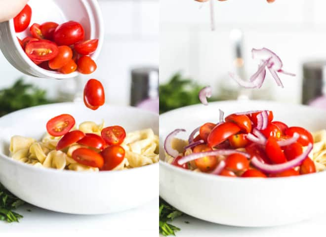 Pouring tomatoes and red onions into a white bowl.