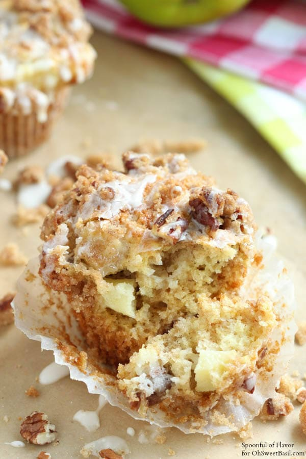 Apple Coffee Cake Muffins - fresh apple chunks, crumble topping, chopped pecans and glaze!
