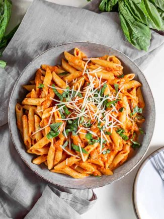 Bowl of tomato basil pasta