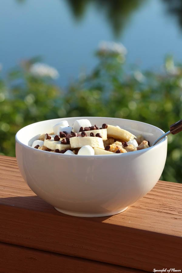 Peanut Butter Banana Oatmeal with Marshmallows and Chocolate Chips