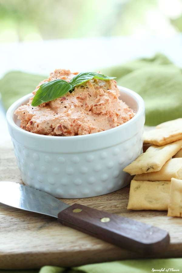 Sundried Tomato Whipped Goat Cheese - perfect for serving with pita chips or spreading on a sandwich!