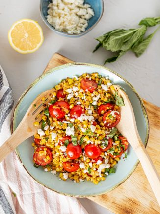 large bowl of corn salad
