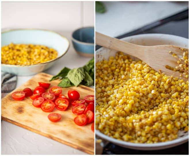 Saute corn in a pan and sliced tomatoes