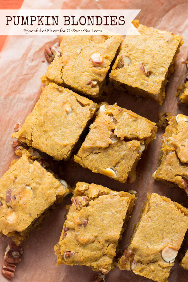 Pumpkin Blondies for Oh Sweet Basil - you won't be able to stop eating these!