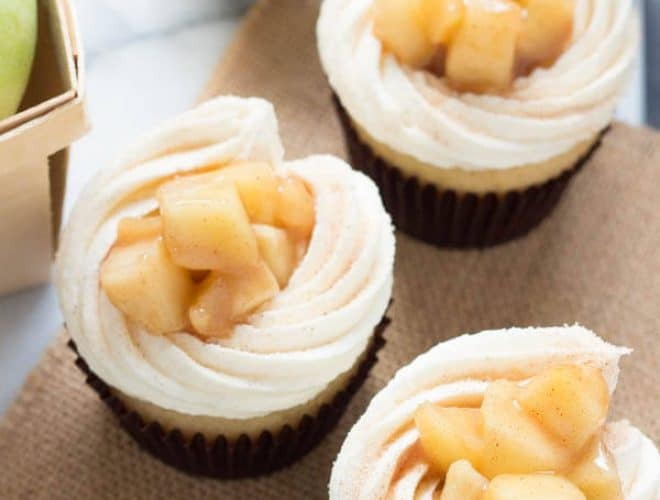 Apple Pie Cupcakes with Vanilla Buttercream Frosting are creamy, sweet and surprisingly easy! Homemade cupcakes don't get much better than the