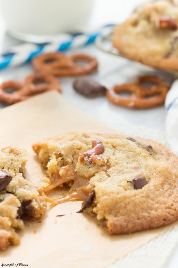 Salted Caramel Pretzel Chocolate Chunk Cookies - chocolate chunk cookies pretzels and stuffed with caramel!