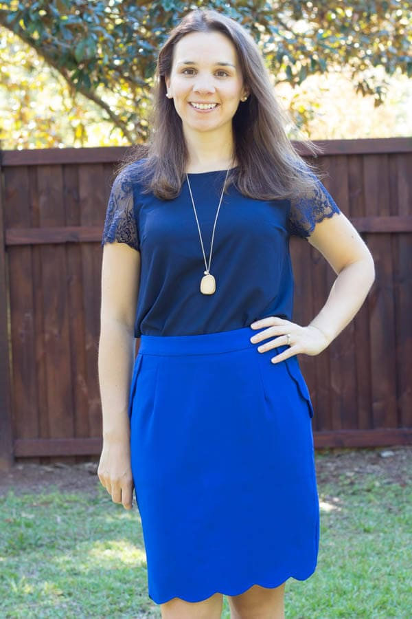 Stitch Fix October 2014 Review - Brixon Ivy Heidi Scallop Hem Pencil Skirt
