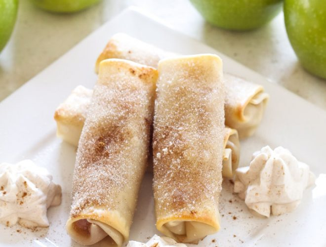 Baked Apple Pie Egg Rolls are a healthier alternative to fried egg rolls and create a tasty treat to enjoy all year long!