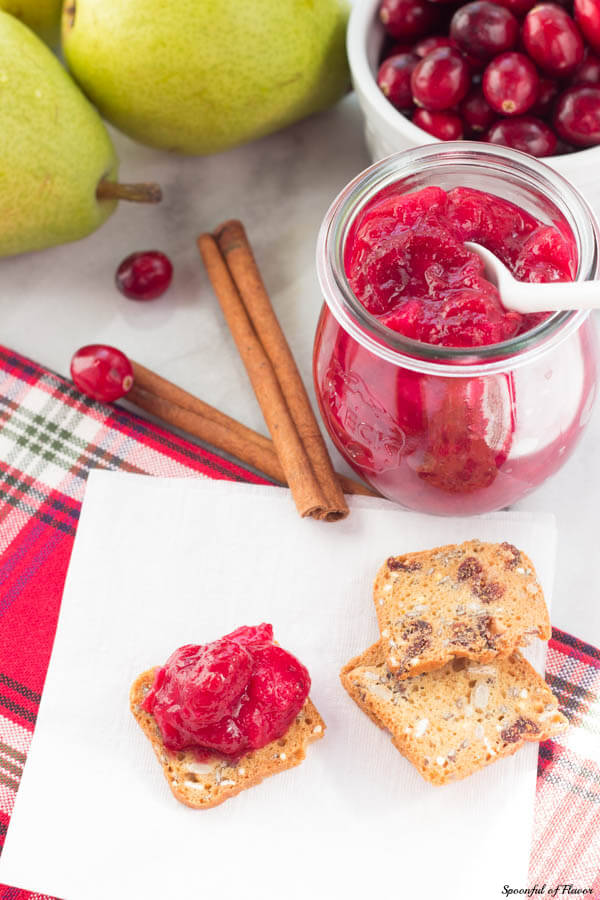 Cranberry Pear Chutney - serve this flavorful chutney with dinner or add it to a cheese board!