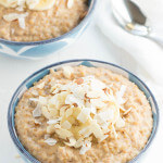 Banana Coconut Crunch Steel Cut Oatmeal - a hearty breakfast with bananas, coconut and crunchy almonds!
