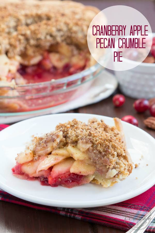 Cranberry Apple Pecan Crumble Pie - a layer of cranberries and apples topped with a layer of pecan crumble!