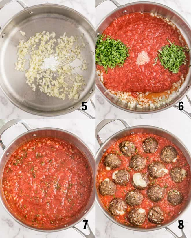 cooking ingredients for sauce in a saucepan