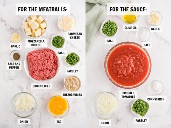 ingredients for stuffed meatballs