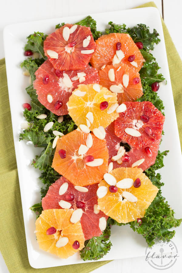 Citrus Salad with Pomegranate Dressing is bold, fresh and flavorful! Enjoy this salad as a light lunch or with dinner!