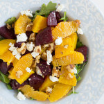 Roasted Beet and Orange Salad over arugula with goat cheese and walnuts!