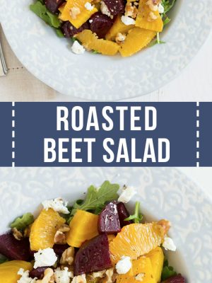 roasted beet salad with dressing in a bowl