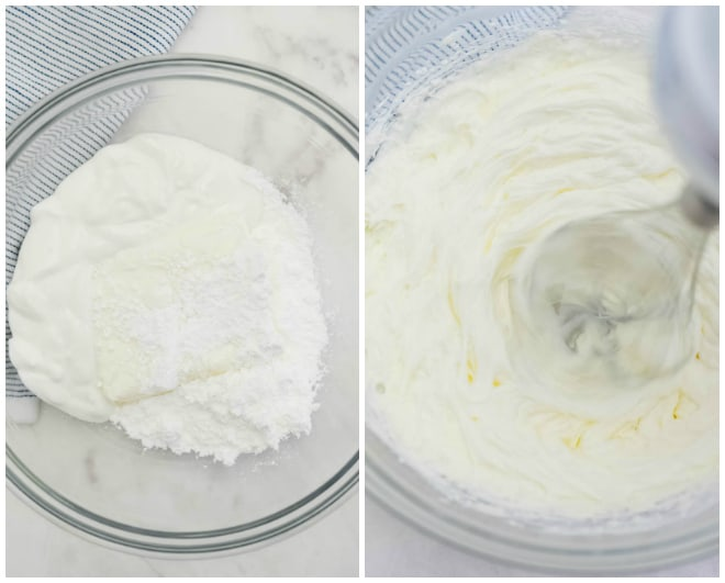 cream cheese and greek yogurt mixed in a glass bowl with confectioners sugar