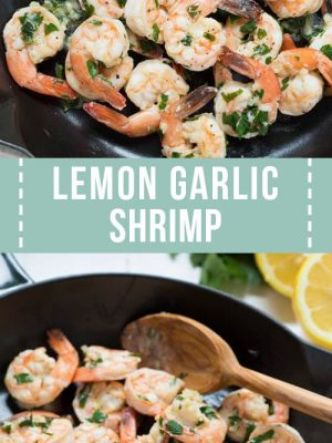 A large skillet with lemon garlic shrimp.